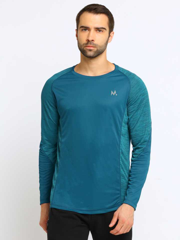 ManiacColor Block Men Round Neck Dark Green T Shirt