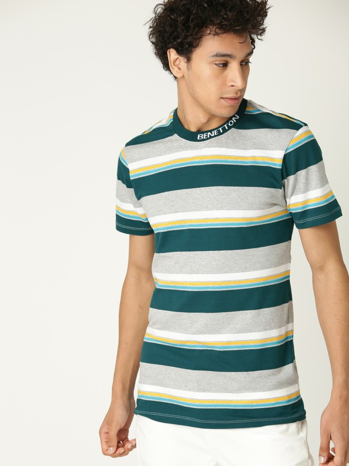 UCB Striped Men Round Neck Grey T-Shirt