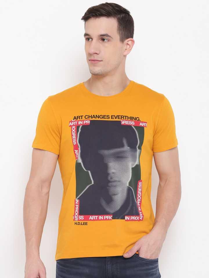 LEE  Graphic Print Men Round Neck Orange T-Shirt
