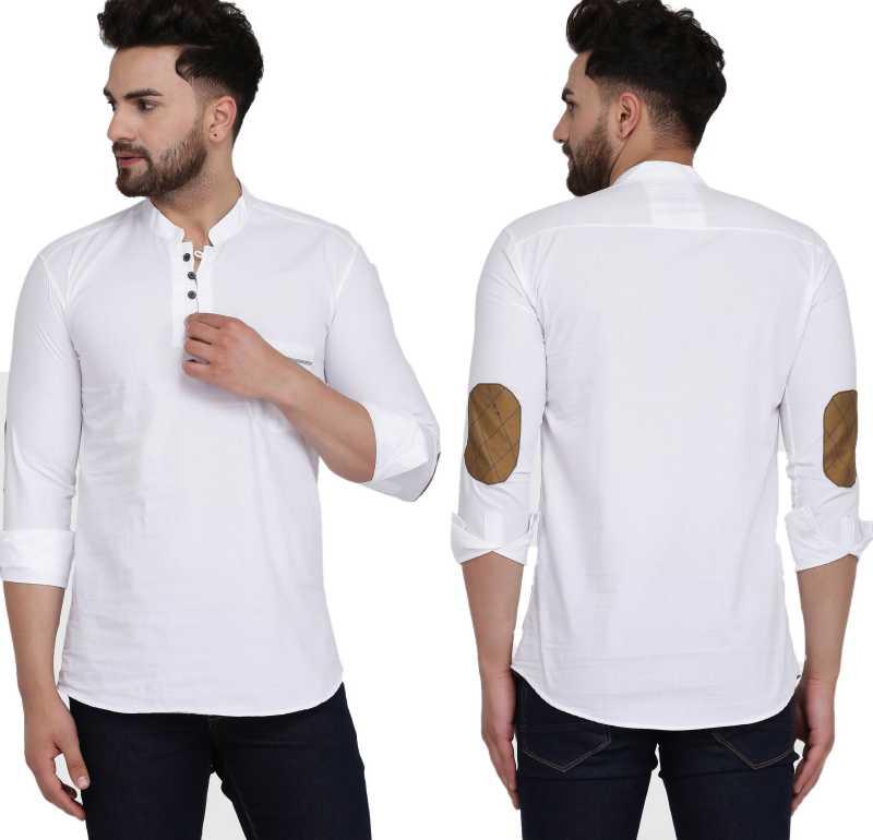 Buy Men Solid Cotton Blend Straight Kurta White