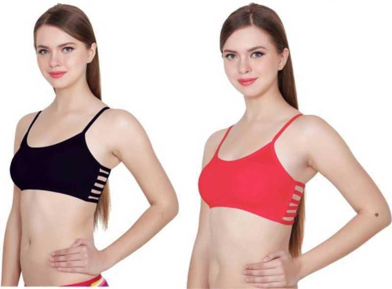 PATINCO  Women, Girls Bralette Lightly Padded Bra  (Red, Black)