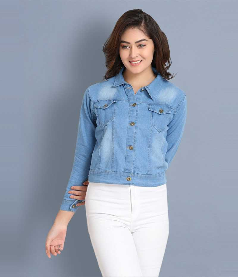 BuyNewTrend Full Sleeve Solid Women Denim Jacket