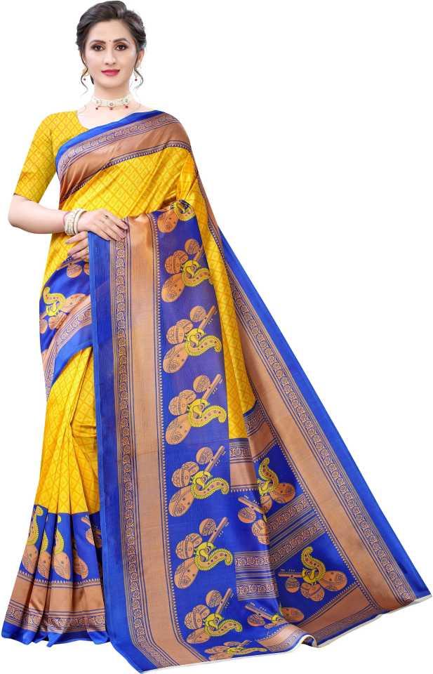 AadvikaPrinted Mysore Art Silk Saree(Yellow)