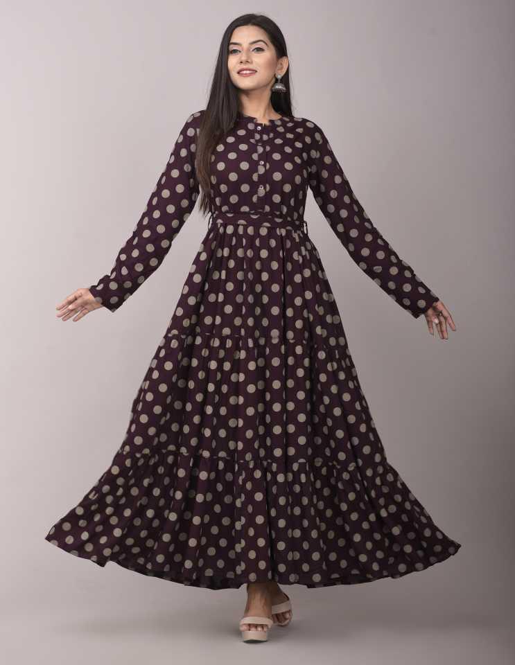 Buy VASANT APPAREL Women Printed Rayon Flared Kurta  (Maroon)