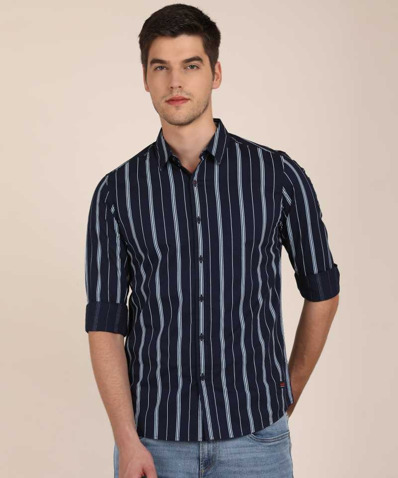 Spykar  Men Slim Fit Striped Spread Collar Casual Shirt