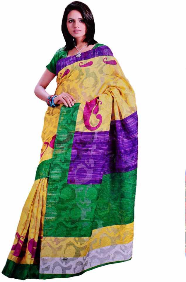 e532b4951b65c8 Buy Samyakk Printed Silk Multicolor Sarees Online @ Best Price In ...