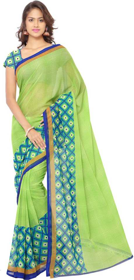 Printed Daily Wear Georgette Saree  (Green) at Flipkart ₹258