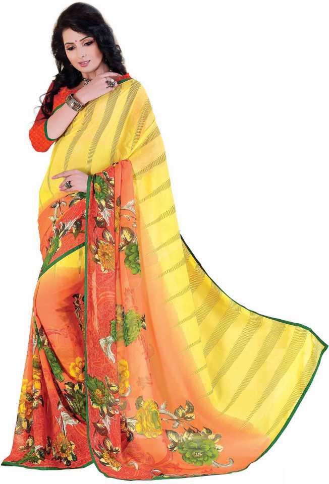 17ab1b6764 Ridham Sarees Printed Daily Wear Handloom Multicolor Chiffon Saree ( Multicolor)