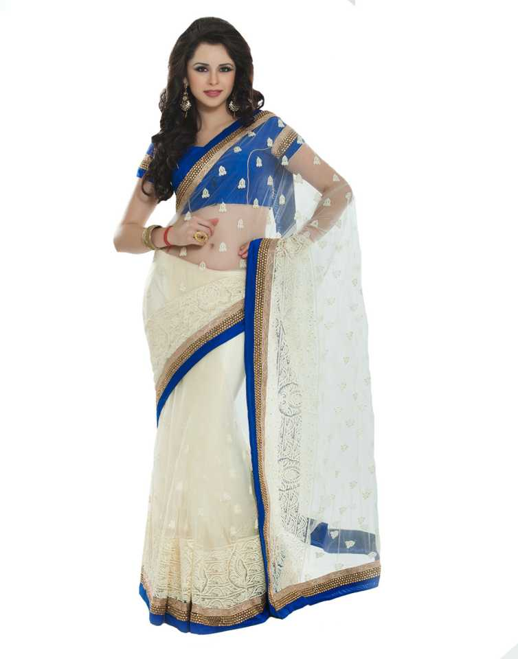 Buy Aishwarya Design Studio Printed Fashion Cotton Blend White Blue Sarees Online Best Price In India Flipkart Com