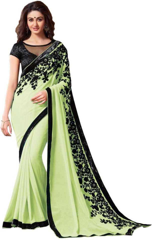 92f86e8bbe Bollywood Designer Self Design Bollywood Poly Georgette Saree (Green)