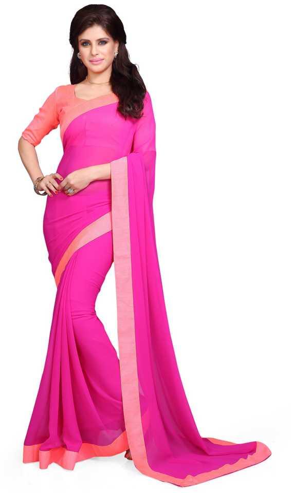 d88e564dda Buy Mirchi Fashion Solid Fashion Poly Georgette Pink Sarees Online ...