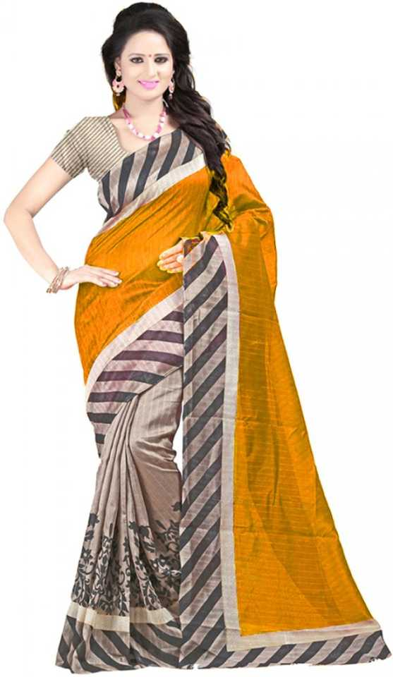952a882925f7 Buy Party Wear Dresses Printed Fashion Cotton Yellow Sarees Online ...