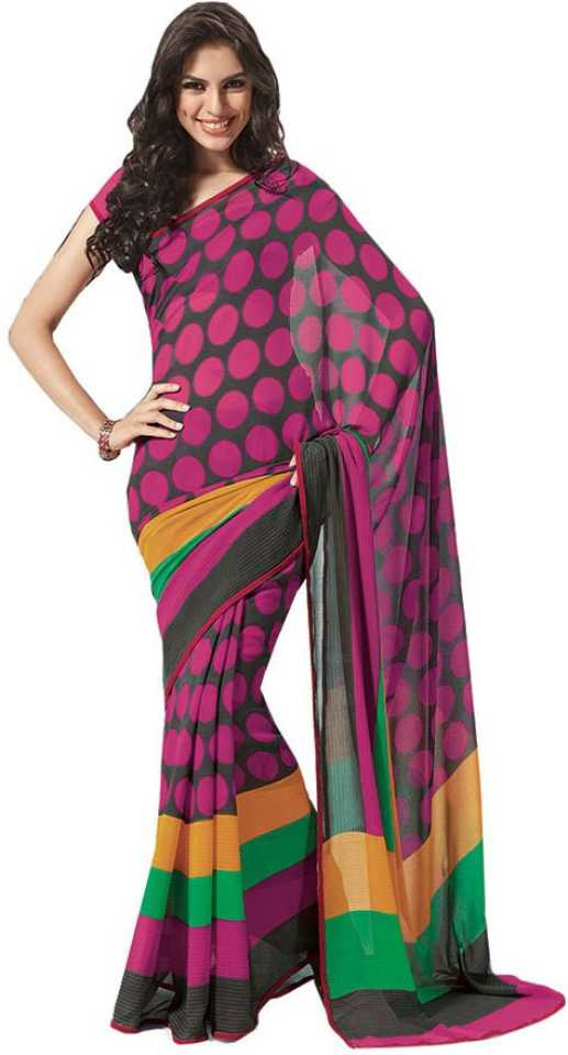 f7b756317141 Buy Party Wear Dresses Printed Fashion Pure Chiffon Purple Sarees ...