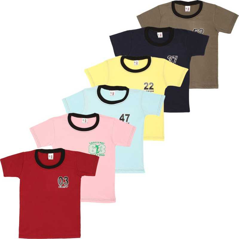 Boys Solid Cotton Blend T Shirt  (Multicolor, Pack of 6)