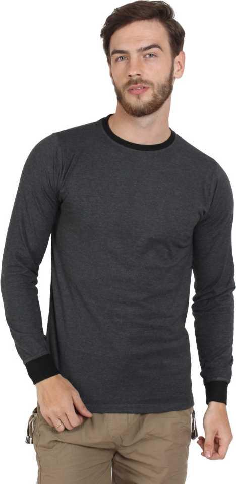 SayItLoudSolid Men Round Neck Black T Shirt
