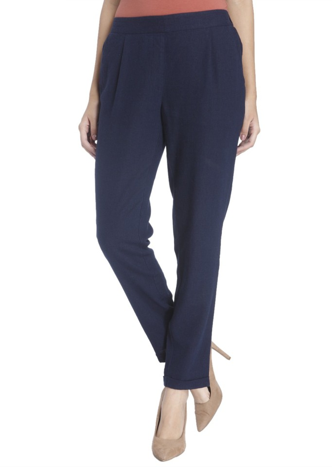Vero Moda Slim Fit Women Blue Viscose Linen Trousers