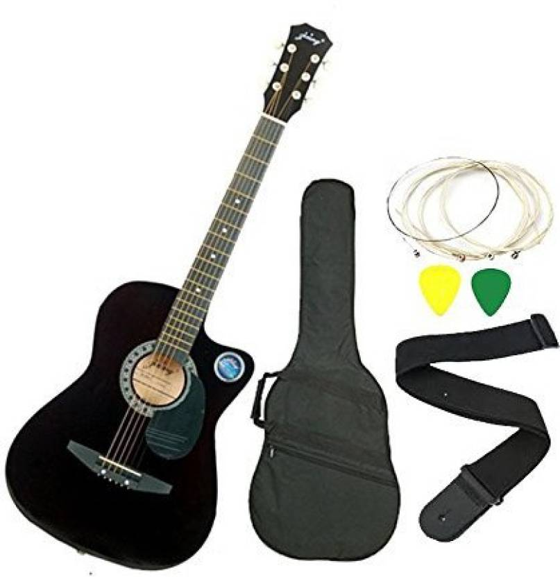 Jixing DD-380C-BLK Linden Wood Acoustic Guitar