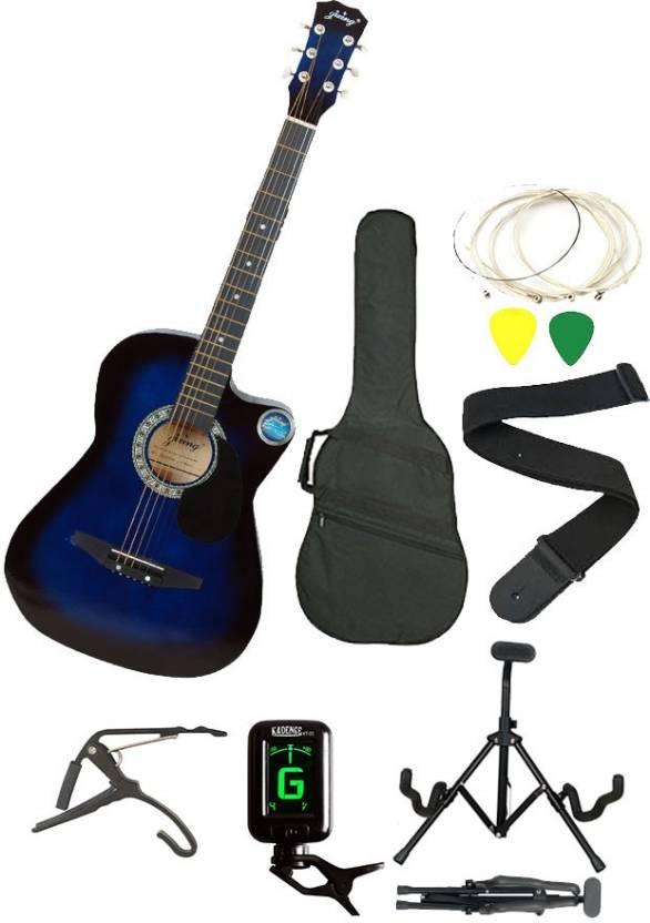 Jixing JXNG-BLU-SC Linden Wood Acoustic Guitar