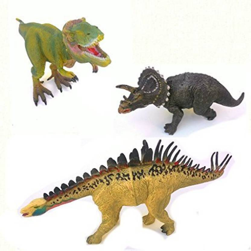 Generic Jurassic Jungle Giant Dinosaurs Toy Figures 3 Piece Dinosaur Action Set With Carrying Case