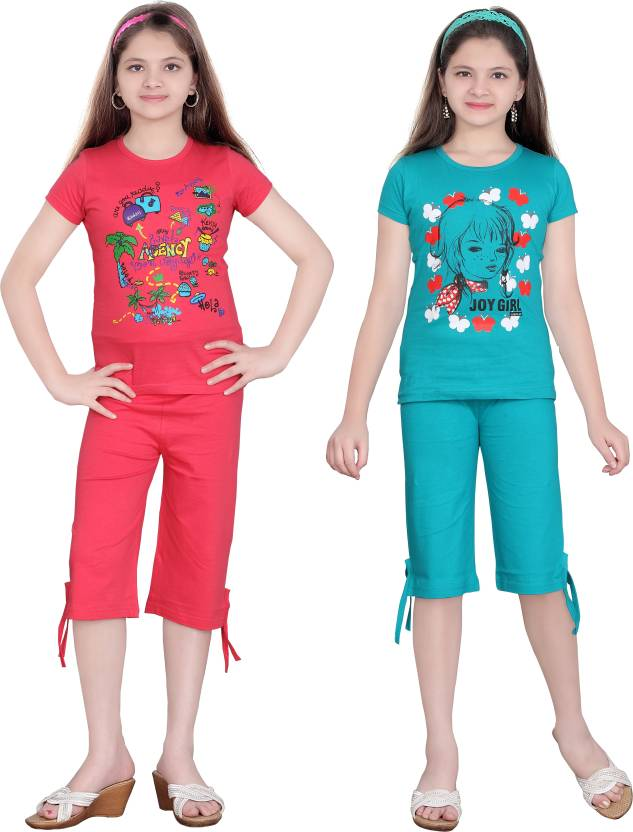 Sini Mini Girls Casual Top Capri(Multicolor)