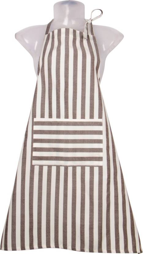 VKE Product Blended Home Use Apron   Large White, Brown, Single Piece VKE Product Aprons