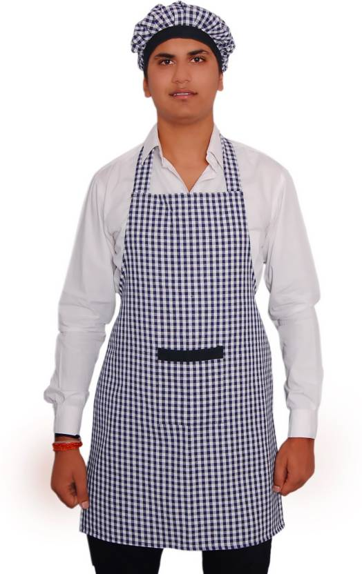 RC FASHION Cotton Chef's Apron   Free Size White, Blue, Single Piece