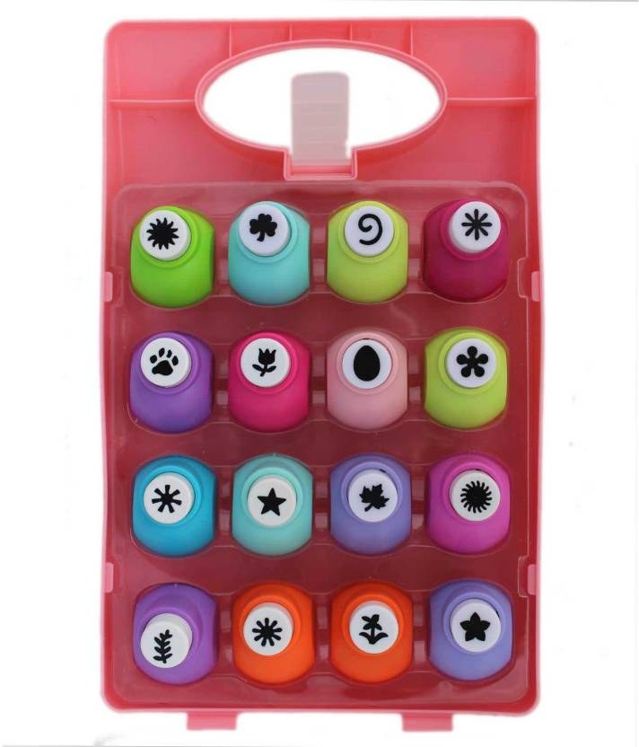 Tootpado Collection Of 16 Craft Paper Punch Set With Box Size 1 Cm
