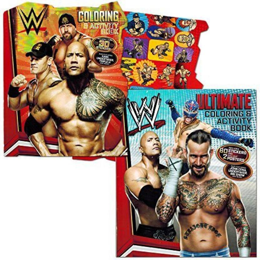 Wwe Coloring Book Set With Stickers And Posters 2 Books