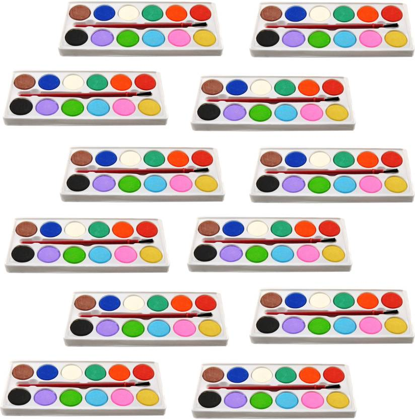 Infinxt Mini Color Plate For Kids With Brush Birthday Return Gift Pack Of 12
