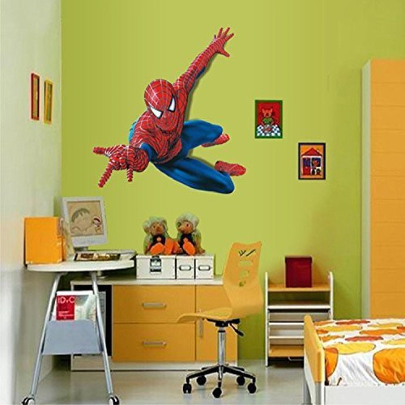 Fucool ® 3D Cartoon Removable Spiderman Wall Stickers PVC Wall Decals For  Kids Room Decor (