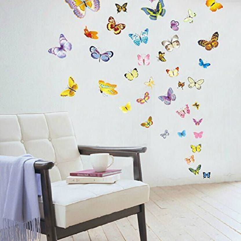 Amaonm 50 Pcs Colorful Butterfly Wall Decal For Kids Room Bedroom
