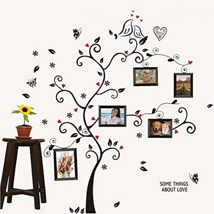 amaonm ® wall stickers wall decals trees photo frame butterfly birds