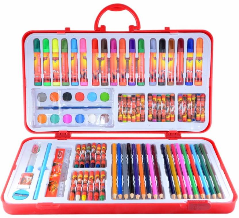 Instabuyz 60 pieces and more Kid\'s Painting Case for Coloring Art  Tools,Colored Pencils,shapner and scale with proper Portable Storage.