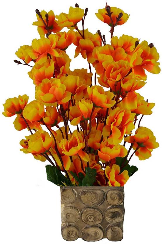 Kaykon Designer Wooden Pot Flowers For Home Decoration Multicolor