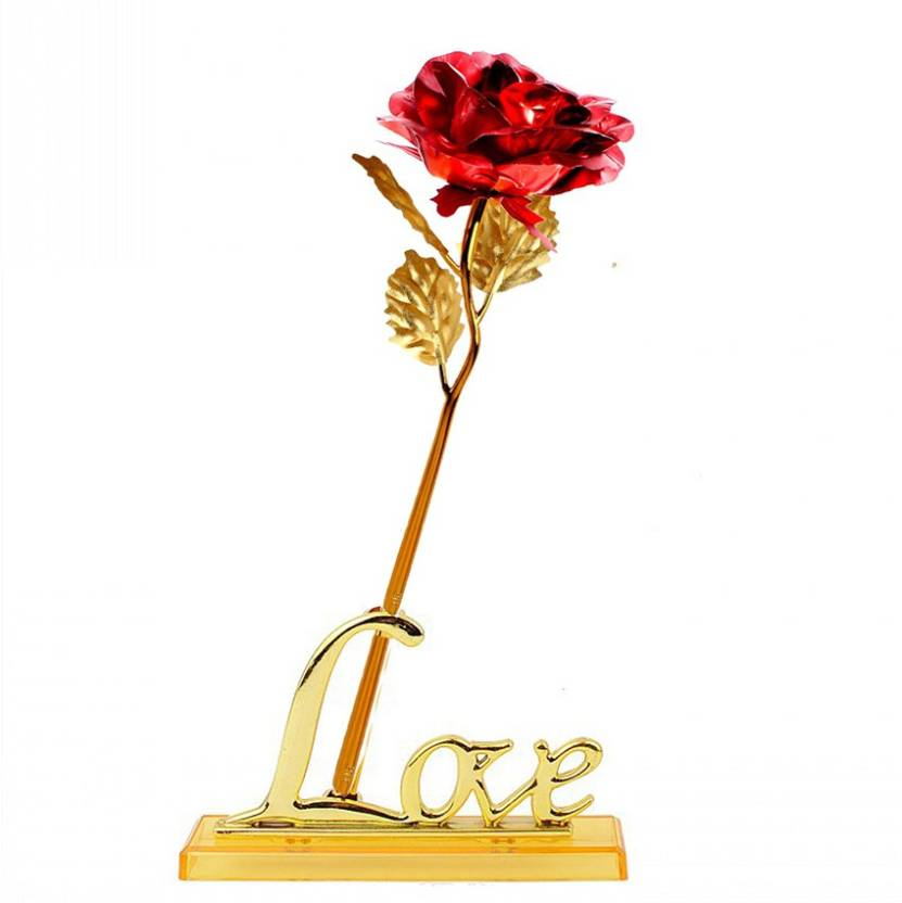 Stealodeal Red Valentine gift Gold Rose With Gift Box and Love Vase Red, Gold Rose Artificial Flower with Pot (9.8 inch, Pack of 1)