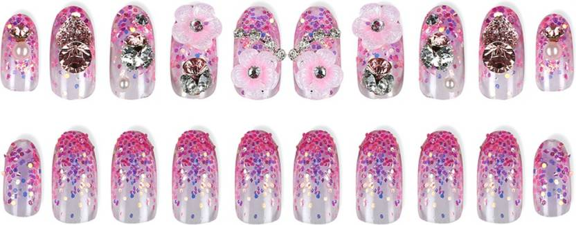 Space Press On Artificial Nails Short Medium Lengths Pink
