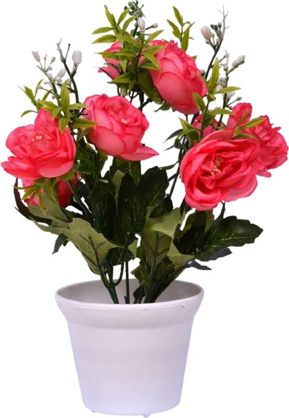 Yash Enterprises Pink Dragon Flower23 Cm Artificial Plant With Pot