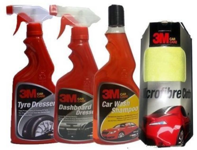 3m 1 Car Bike Care Kit Tyre Polish Dashboardpolish Shampoo