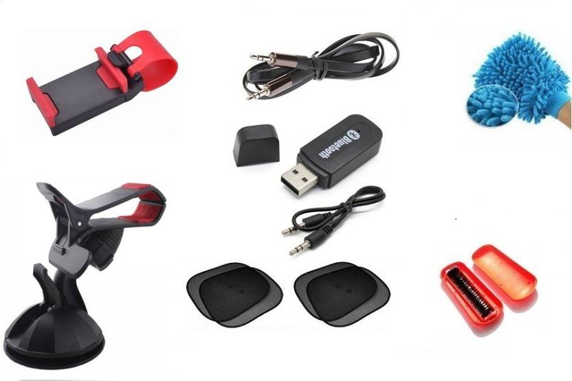 De AutoCare Car Accessories Kit of Bluetooth Music Audio Receiver, GPS  Holder Stand, Steering Wheel Mobile Phone Mount Socket, 4 PC Foldable auto