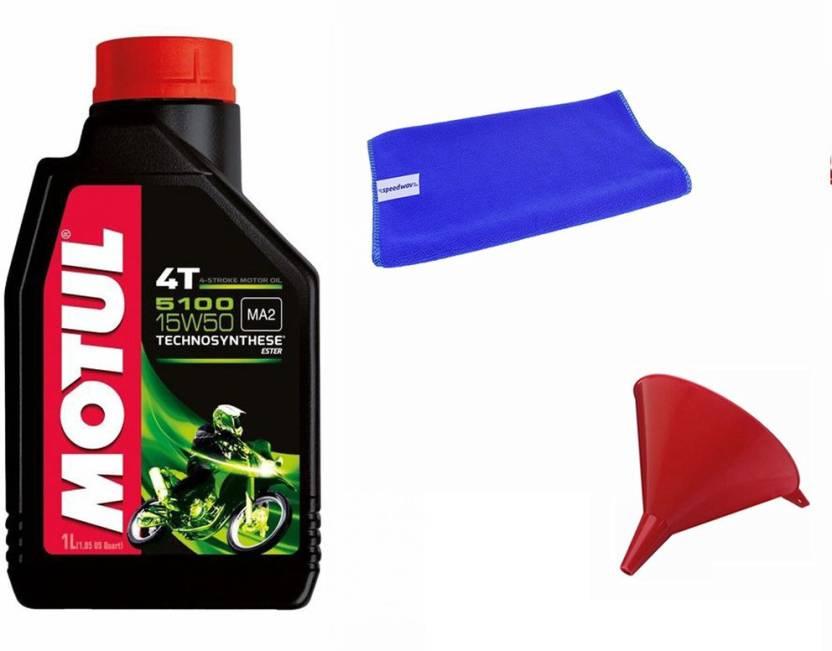 Motul 1 Motul 5100 15W50 4T 1 Litre Bike Engine Oil, 1 Cloth, 1