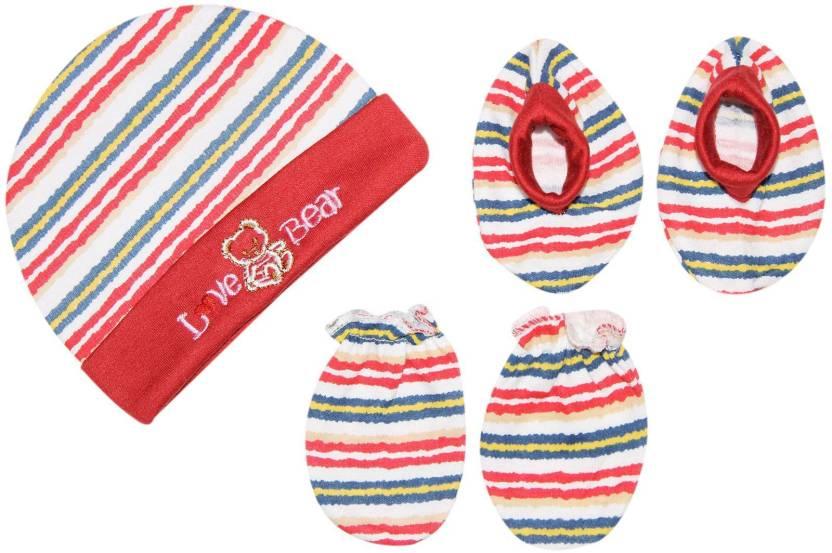 a5fa35416b5 Wonder Kids Stripes Baby Cap Set (Red)