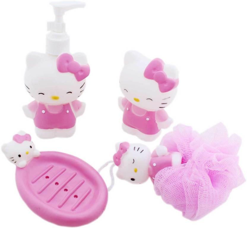 Tootpado Hello Kitty Kids Bathroom Set Soap Dispenser Dish Loofa Toothbrush Holder
