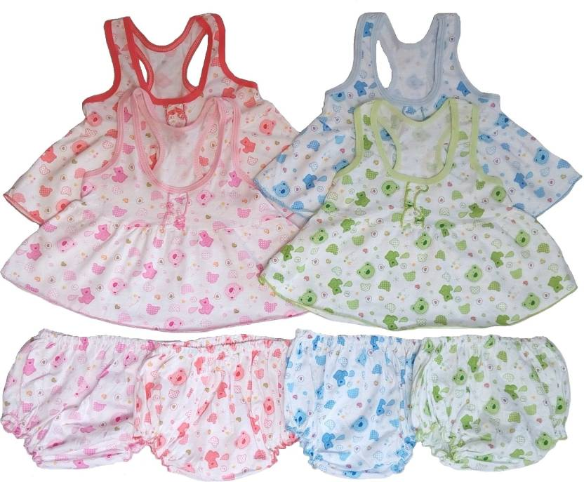 923e6fcd0b32b Sonpra Baby Girls Frocks with Bloomers-Printed Soft Cotton ( 0-6 Month)