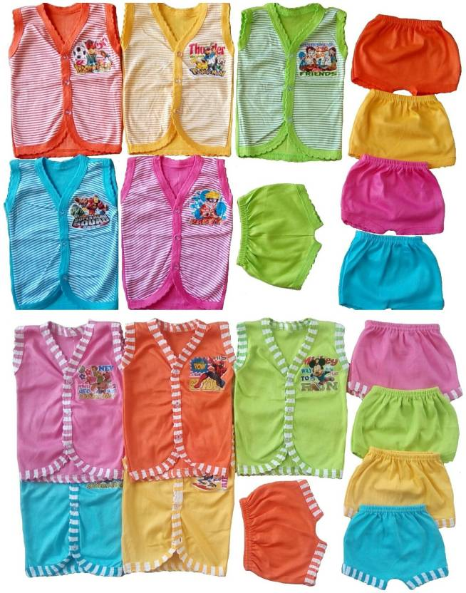 19b6900a4ea4 Sonpra New Born Baby Fashion Soft Cotton Baba Suits Jablas Shorts Combo Set  (0 - 6 Months) (Multicolor)