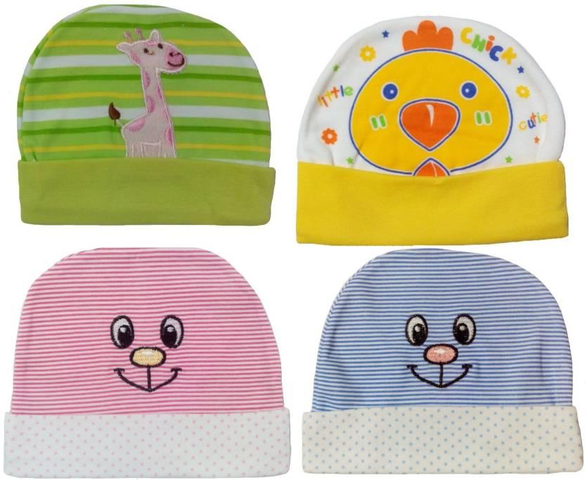 Sonpra New Born Baby Caps Stylish Cotton Hats Combo (0-3 Month Baby)  (Multicolor) 29006f07fbd