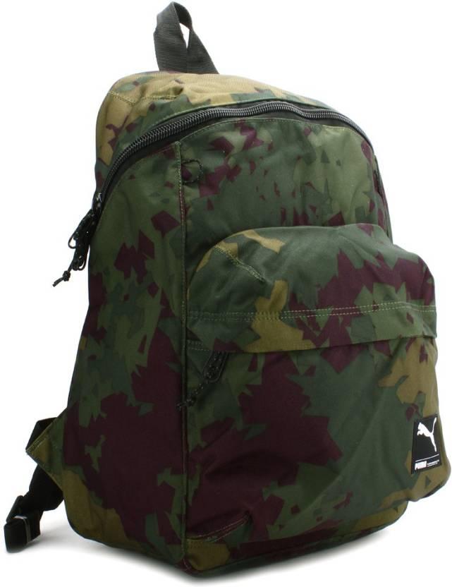 8cd155b77fb Puma Foundation Backpack Dark Olive, Camo - Price in India ...