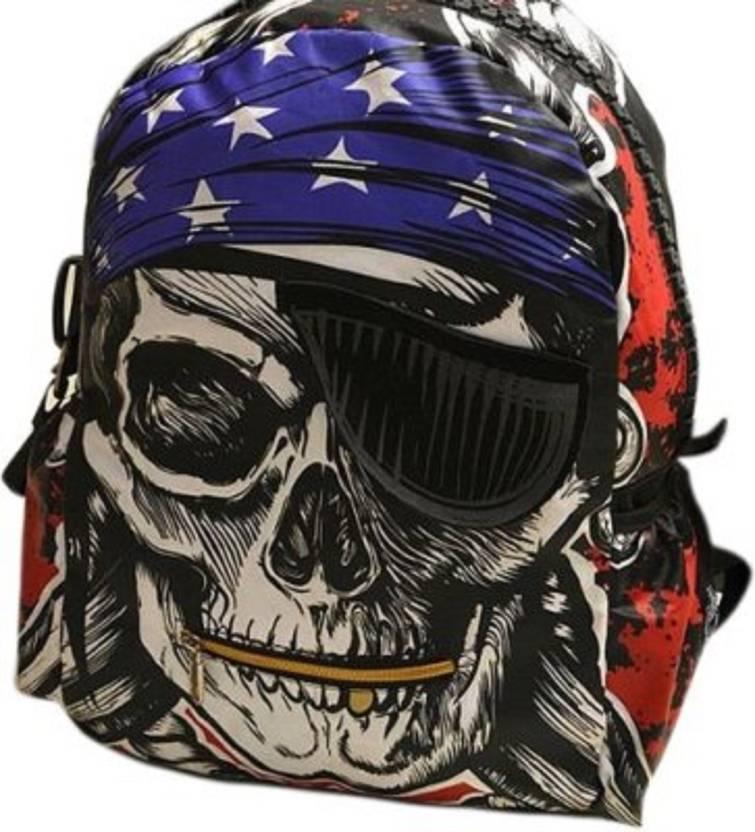 Magnusdeal Punk Pirate Skull Fashion Motorcycle Bag Big Zippered for School  3 L Backpack (Multicolor) 205e7c6d612d8