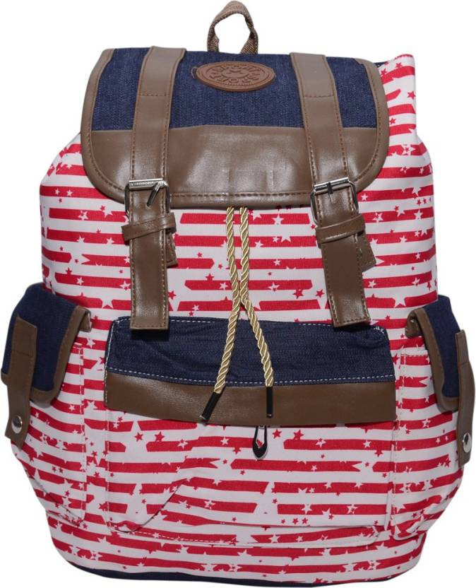 e97a076c3c Ruff Ruff Red Coloured School bag Printed Backpack Casual Style Women Backpack  Bags Double-Shoulder Sweet Stripe Canvas School Collage Travel Bag Girls ...