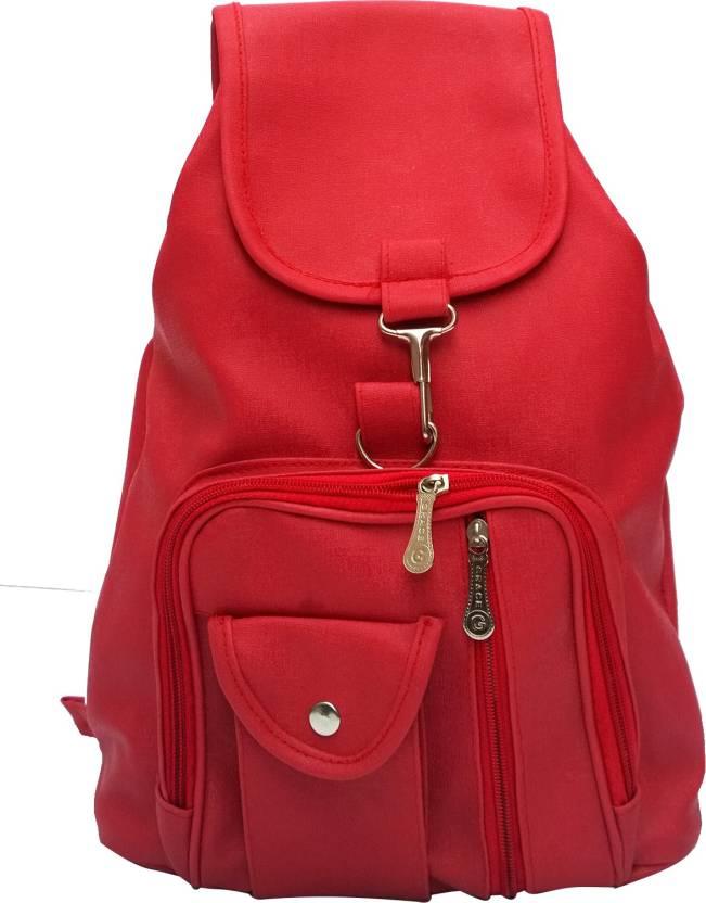 vintage stylish ladies expandable backpack handbag red bag 124 2 5