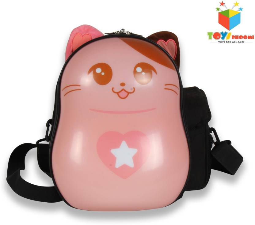 Toys Bhoomi 3D Cartoon Cats Eggshell Waterproof Childrens School Backpack  with LED Light Up Eyes Waterproof School Bag (Multicolor, 13 inch) 984c0e3b2b